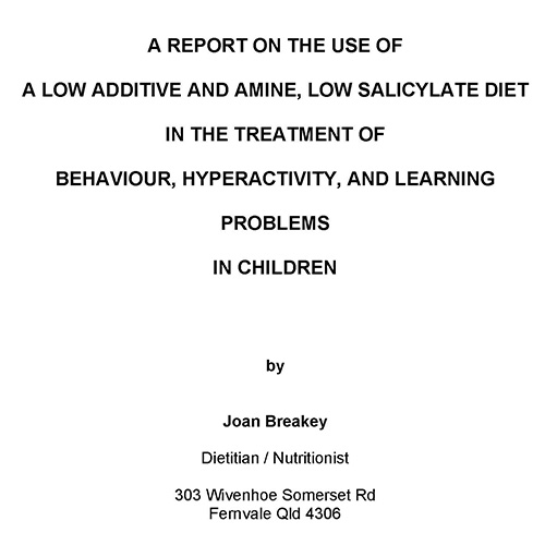 Thesis on diet and behaviour and ADHD